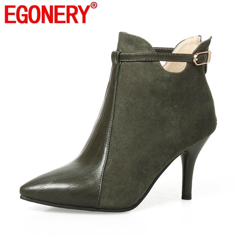 EGONERY النساء الأحذية أحدث سستة سوبر عالية رقيقة الكعوب المدببة تو فلوك و Pu مشبك معدني الأزياء مثير ثلاثة ألوان الجوارب