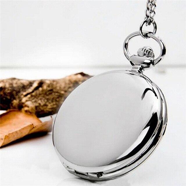 Retro Klassische 4,5 cm Größe Silber Polnischen Quarz Männer Taschenuhr Anhänger Kette Glatte Tasche Uhren Relogio De Bolso Geschenk