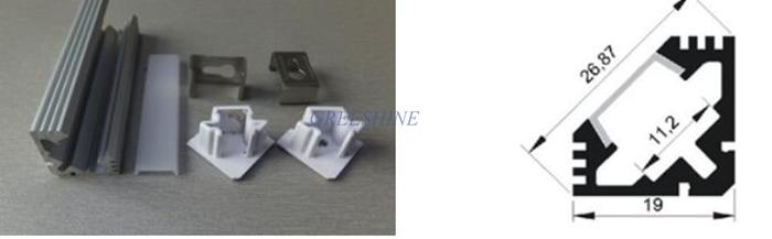 50 unids/lote DHL envío gratis 1 M/2 M W19xH19mm 45 grados extrusión aluminio led para 11mm perfil led vivienda tira rígida