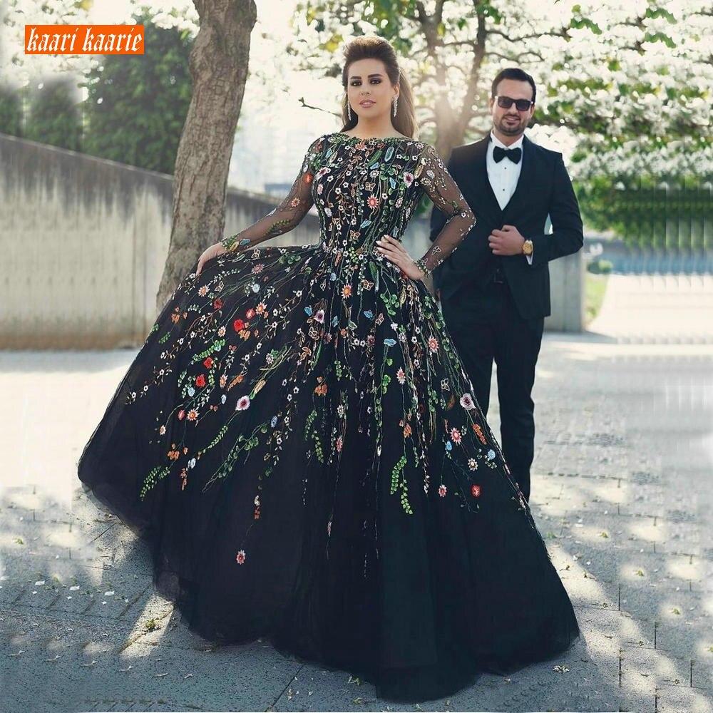 Элегантное Черное вечернее платье с вышивкой, вечерние платья с длинным рукавом 2020 размера плюс, вечернее платье с v-образным вырезом на спи...
