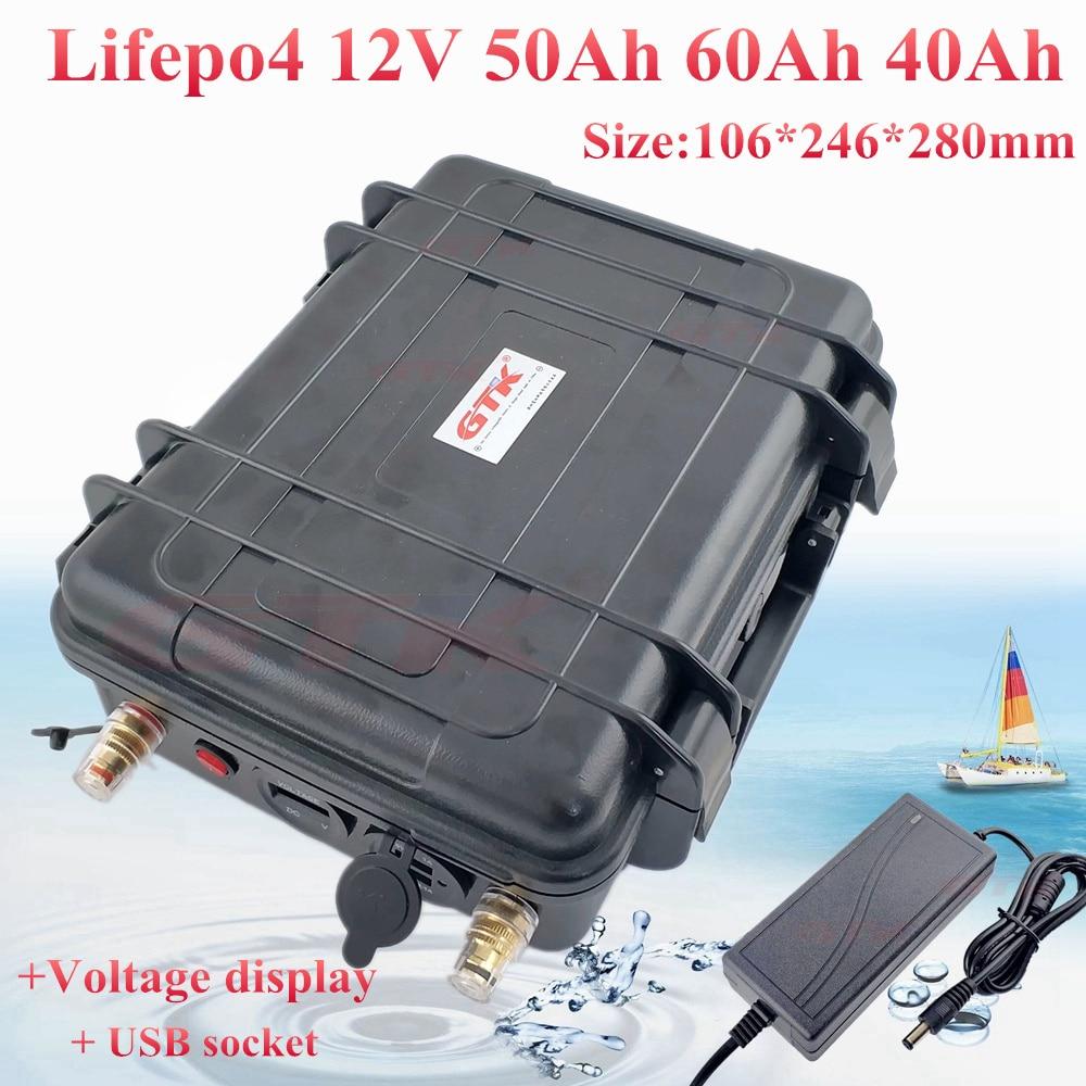 Gran capacidad de Lifepo4 12V 50Ah 60Ah 70Ah 80Ah 100AH de la batería de 12,8 v paquete para 250w 500w solar inversor fuera de borda + cargador 5A