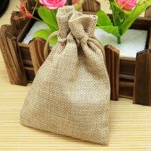 10*14cm 50 pcs/lot plaine marron lin jute sac cordon bracelet bijoux paquet sac petit cadeau sac mariage faveur emballage sacs