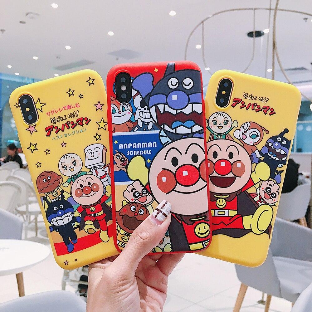 Funda clásica japonesa animación pan Superman para iPhone X XS MAX XR 6 6S 7 8 Plus dibujos animados Anpanman silicona suave TPU carcasa funda