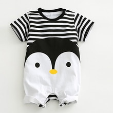 2020 Baby Rompers Summer Lovely Baby Boy Girl Clothing Newborn Infant Penguin Short Sleeve Clothes b