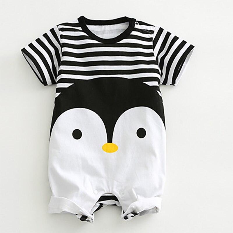 2020 детские комбинезоны, летняя Милая Одежда для младенцев и мальчиков и девочек одежда с короткими рукавами с пингвином для новорожденных Комбинезоны для маленьких мальчиков и девочек