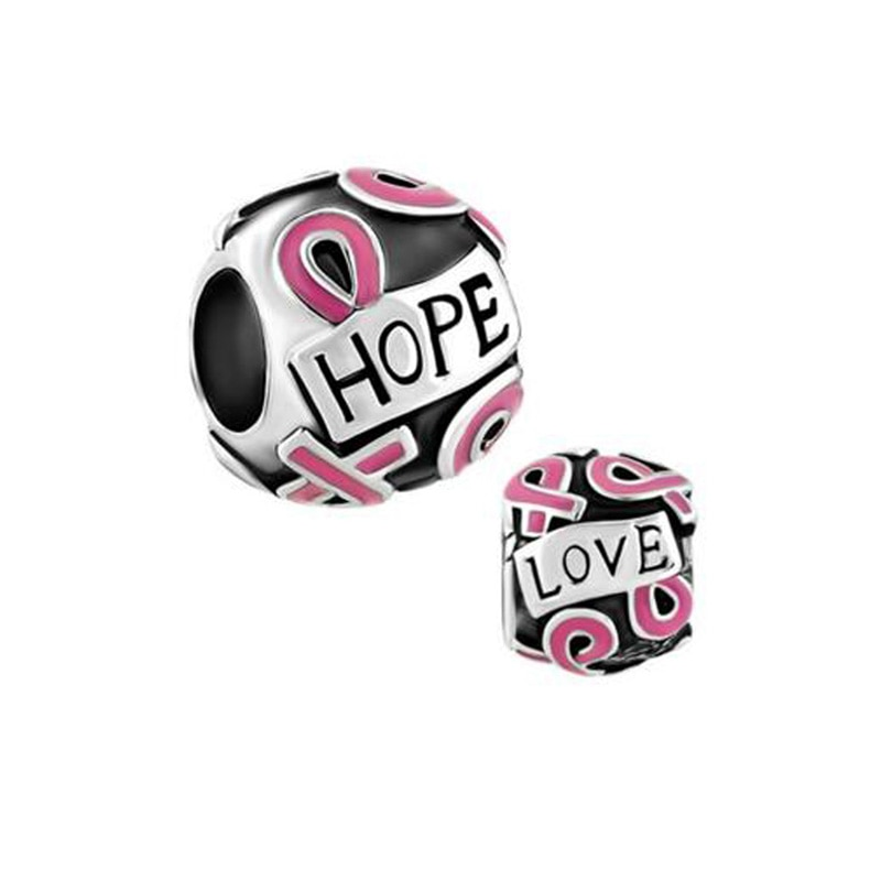 Envío Gratis 5 mm agujeros rectos valor pintura epoxi de concientización sobre el cáncer de mama granos del encanto fit pulsera de Pandora
