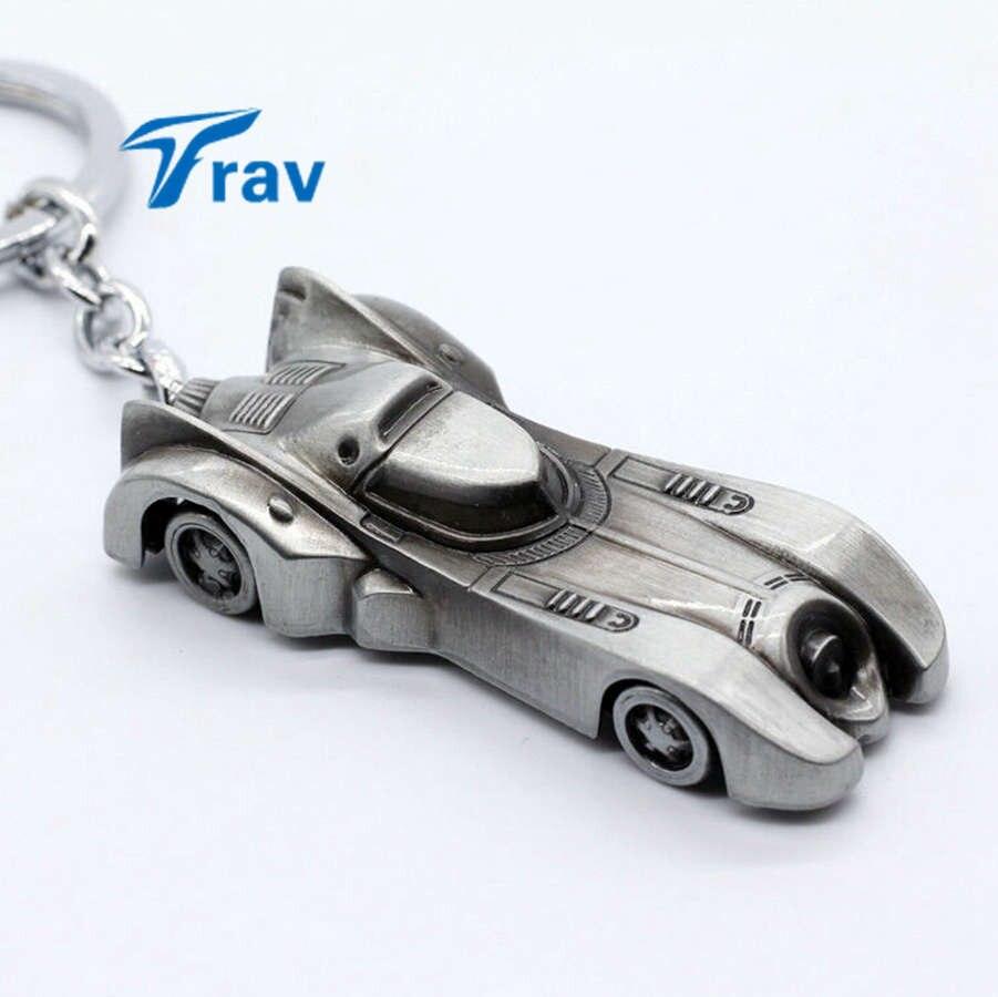 New The Dark Knight Batman Car Keychain Batmobile Batman Vs Superman Alloy Pendant Toy Keyring Bat Man Key Chain Ring Silver