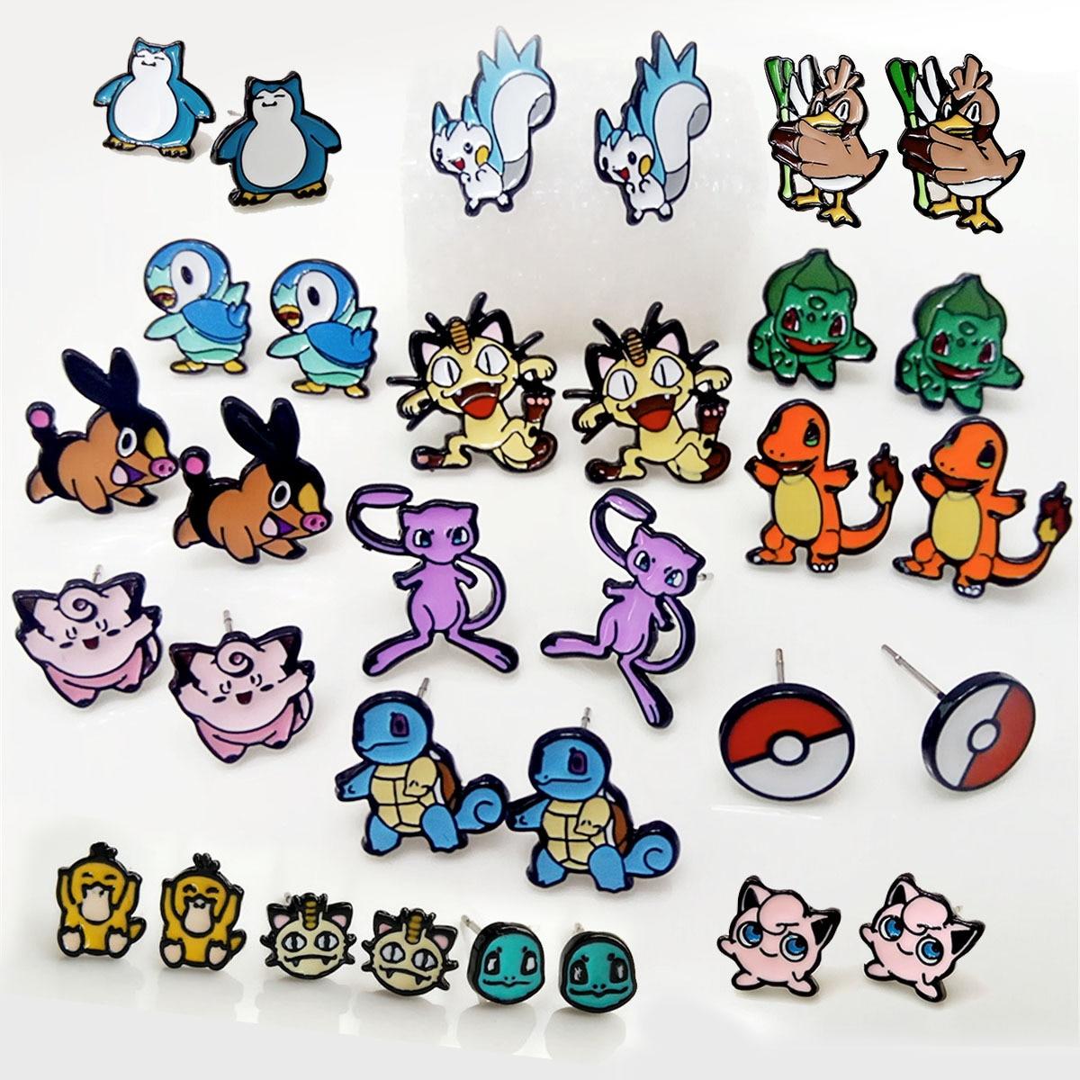 Pokemon lindo pendientes para Cosplay juego Anime de dibujos animados Charmander Meowth Psyduck Jigglypuff Pokemon RAICHU pendientes de tuerca joyas