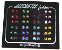Nouveau cristal gemme boucle doreille Stud oreille clou anneau 3mm CZ Gem 316l acier inoxydable magnétique Megnet propriété pour hommes femmes fille garçon