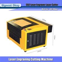 Graveur Laser 220/110 V 50 W 430 taille de travail 400*300mm haut et bas nid dabeille table de travail Position rouge utilisé pour tasse/bouteille/contreplaqué