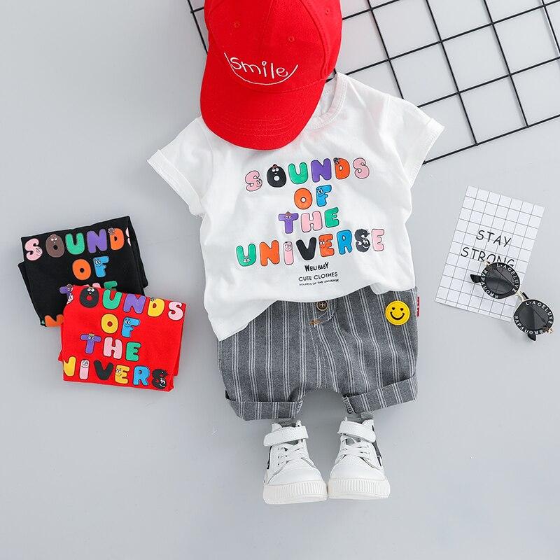 Комплекты короткой одежды для маленьких мальчиков на лето 2019 Комплекты