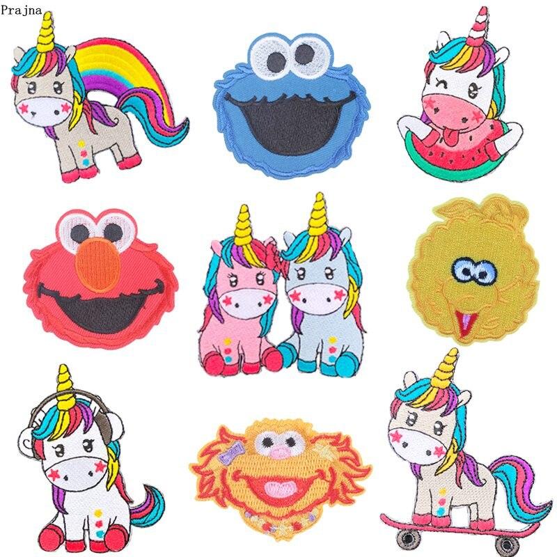 Prajna Cartoon Unicorn patches Sesame Street Iron On Embroidery Rainbow Iron On patch Appliques On Clothing DIY For kids T-shirt