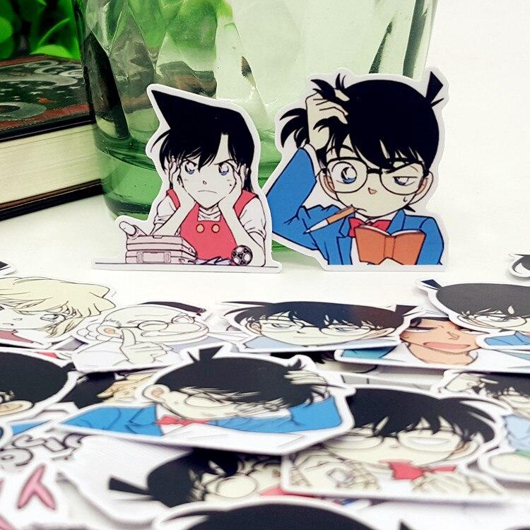 40 unids/bolsa Detective Conan álbum de dibujos animados pegatinas de decoración a prueba de agua DIY regalo hecho a mano Scrapbooking sticker