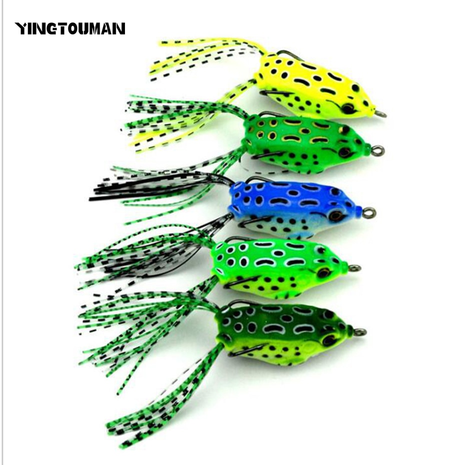 YINGTOUMAN forma de rana 5,5 cm de largo 4 colores/conjunto señuelo de pesca cebo Artificial con gancho afilado de acero inoxidable para mar/río/lago