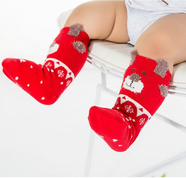 3 pares de calcetines navideños de algodón para niños, calcetines de tubo largos de algodón para bebés, calcetines rojos de Año Nuevo, calcetines de tubo para bebés de 0 a 3 años