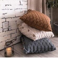Housse de coussin tricotée 45x45cm   Housse doreiller tricotée, de Style nordique Simple, gris ivoire, café, bouton ouvert 45x45cm, décoration de la maison