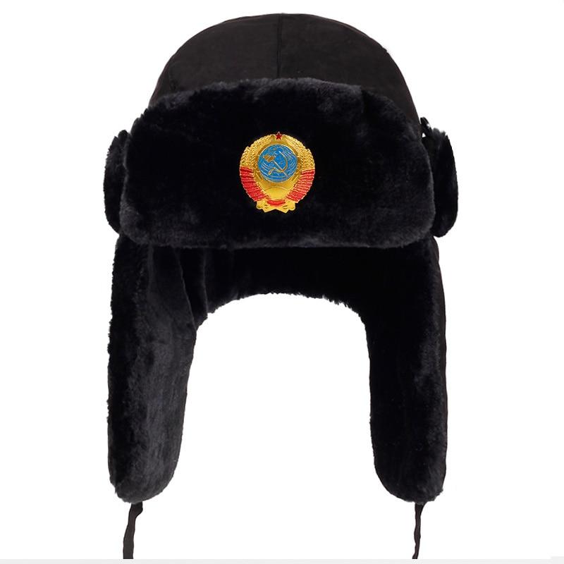 2018 new Men Russian CCCP Lei Feng Winter Hat Aviator Outdoor Ear Flaps Bomber Caps Proof Trapper Ru