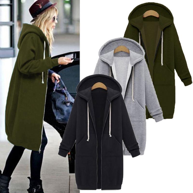 Женская Повседневная Длинная куртка на молнии с капюшоном, толстовка с капюшоном большого размера 5XL, осенне-зимняя верхняя одежда, 2019