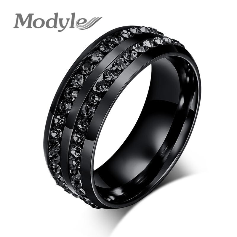 Modyle 2019 nova moda anéis masculinos preto crystyal anéis de casamento de aço inoxidável