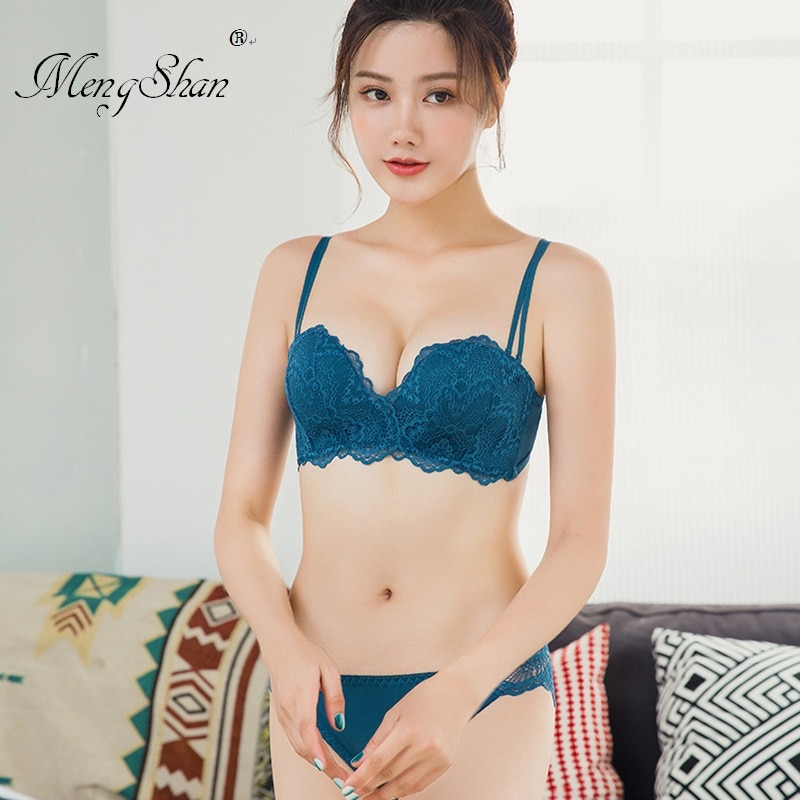 bras for women Lace noodles push up bra+set Push-up bra without steel bracket sexy  bra set Adjustment type 75B 80B 85B 85A 80A