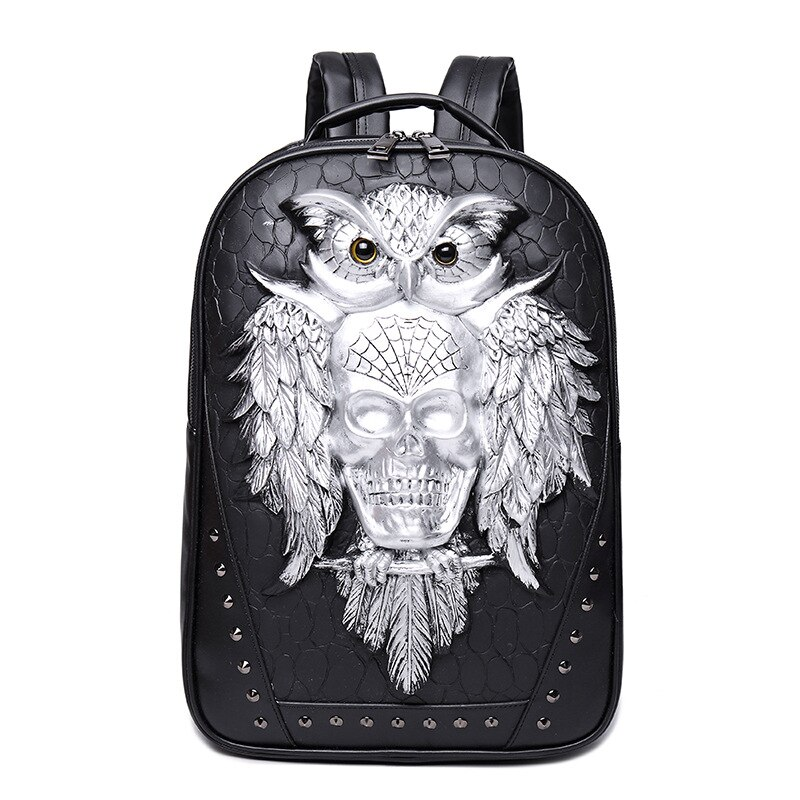 Moda Skull Mochila De Cuero 3D ordenador portátil mochila Cool búho mujeres hombres bolsas de viaje escuela Punk remaches bolsos
