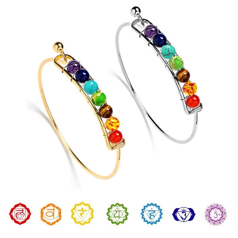 Boho charme pulseiras pedra natural imperador pedra cobre 7 chakra equilíbrio cura pulseiras & pulseiras jóias para presente feminino