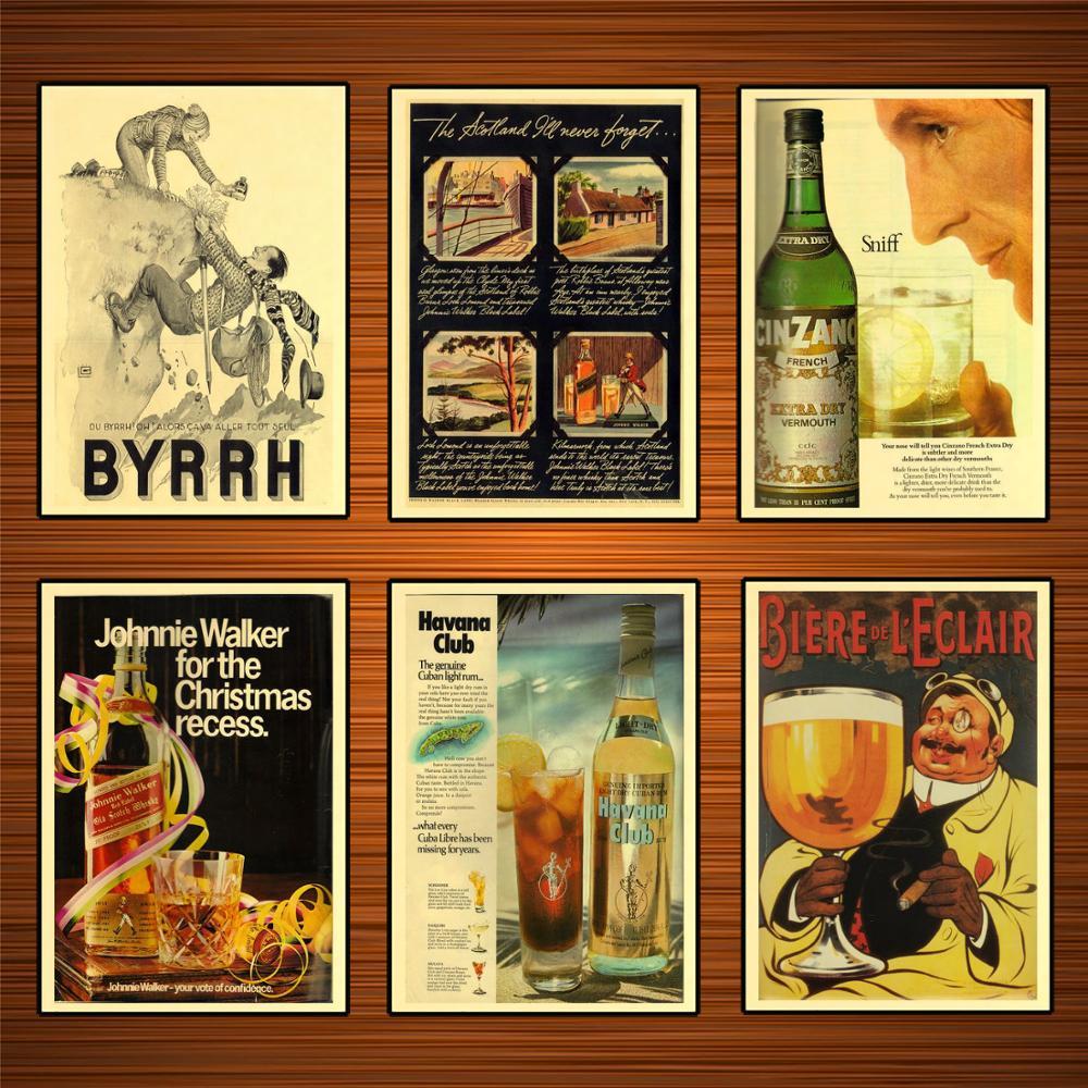 Johnnie Walker Black Label Álcool Wine Beer Poster do vintage Clássico Da Lona Pinturas Cartazes Adesivos de Parede Home Decor Presente