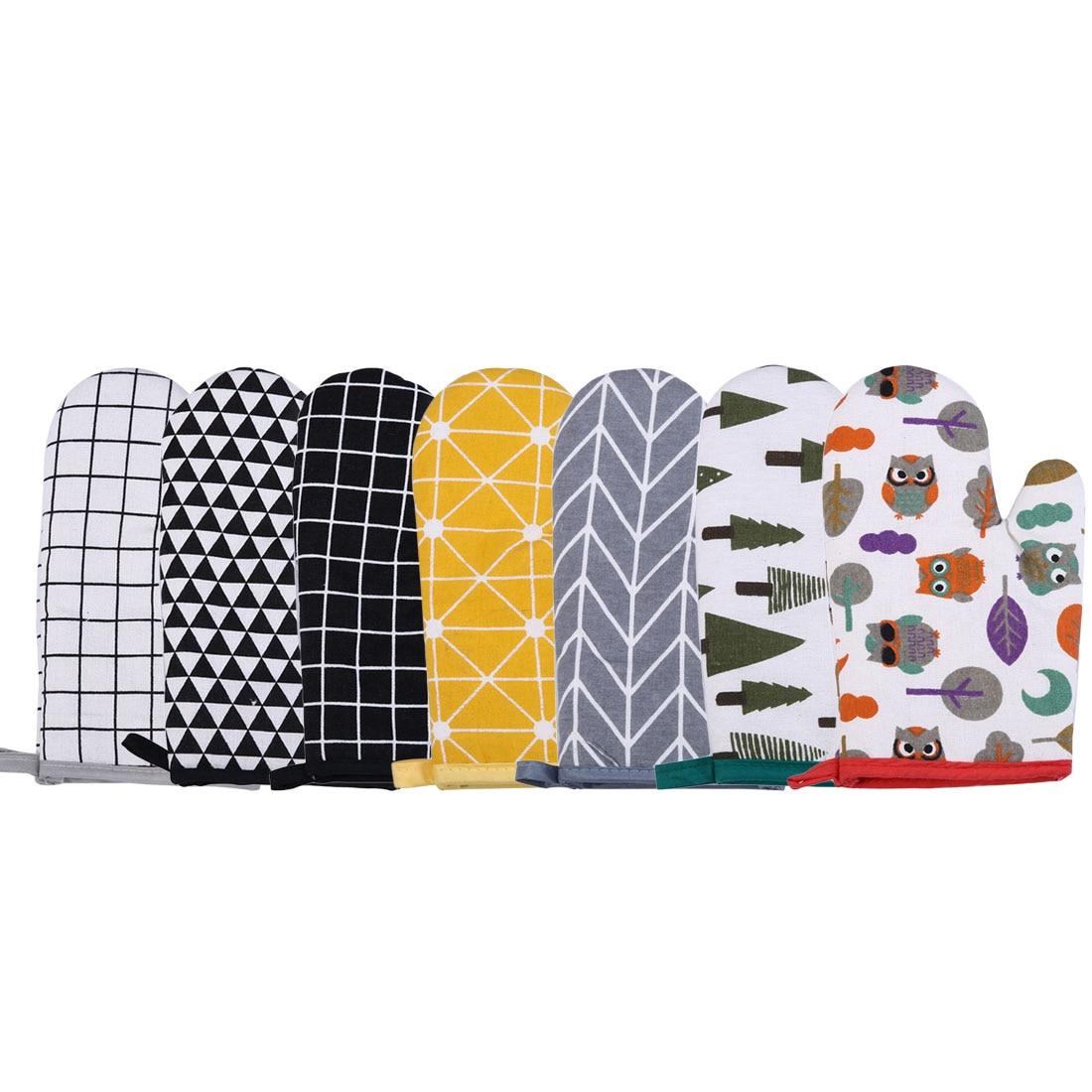Противоскользящие хлопковые термостойкие перчатки для духовки термостойкие варежки для кухни для приготовления пищи микроволновая печь У...