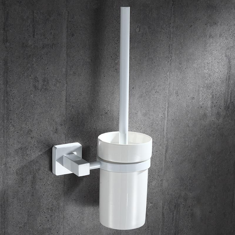 فرشاة المرحاض الفولاذ المقاوم للصدأ وحامل لتخزين الحمام-أسود كلاسيكي ، قوي ، تنظيف عميق ، مثبت على الحائط