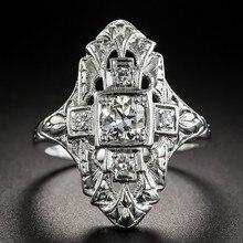 Anillo Nueva Barroca Huitan de lujo de cristal CZ, anillo cuadrado para mujer, joyería femenina con estilo, accesorio de personalidad para chica