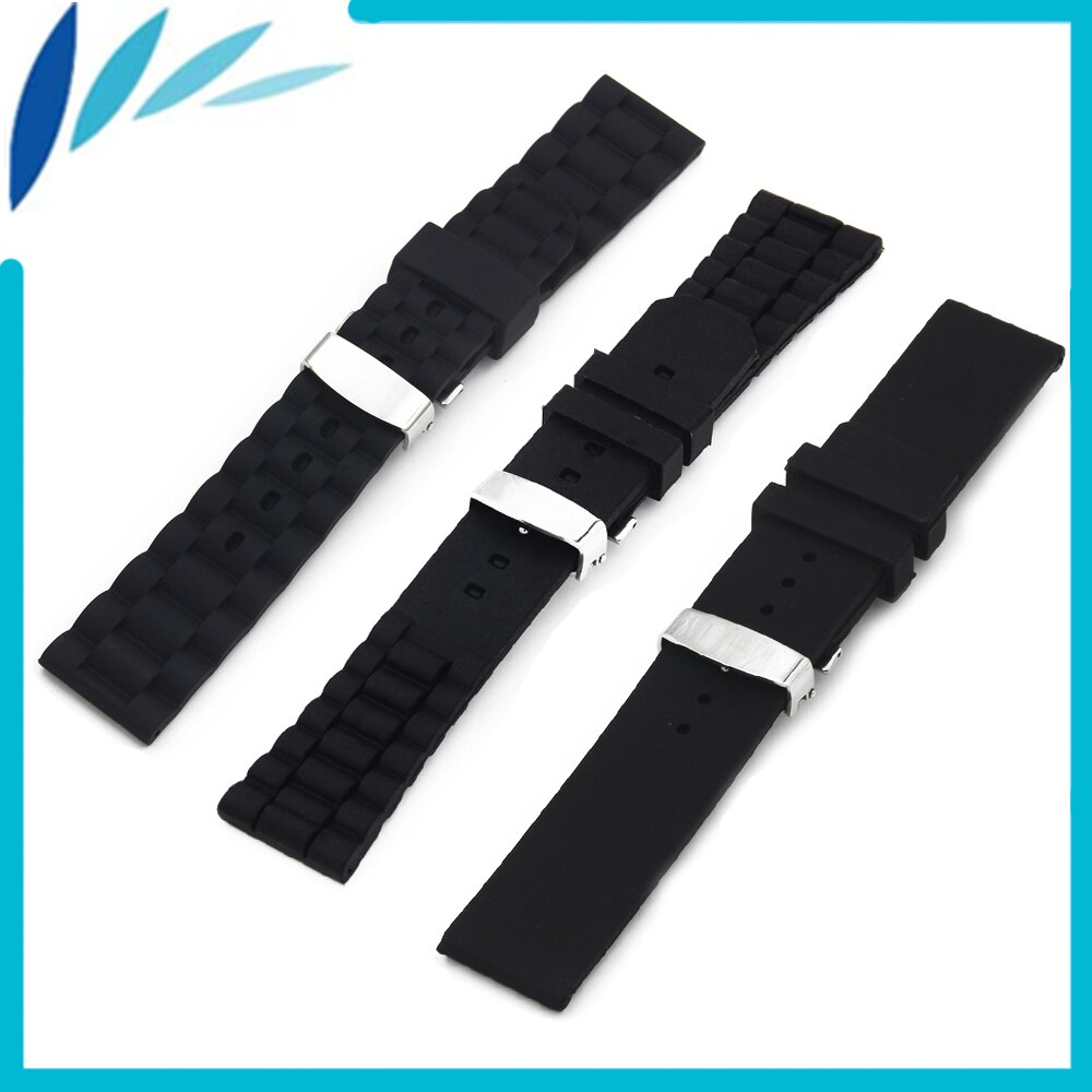 Silicone Rubber Watch Band 20mm 22mm 23mm 24mm for Hamilton Strap Wrist Loop Belt Bracelet Black + Spring Bar + Tool