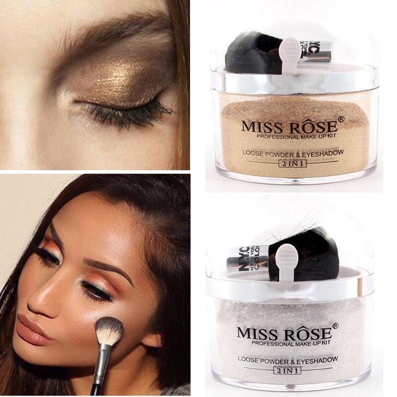Maquillaje de marca Miss Rose 2 en 1, paleta de polvo de sombra dorada, Color blanco, contorno de cara, resaltador brillante, Kit de maquillaje