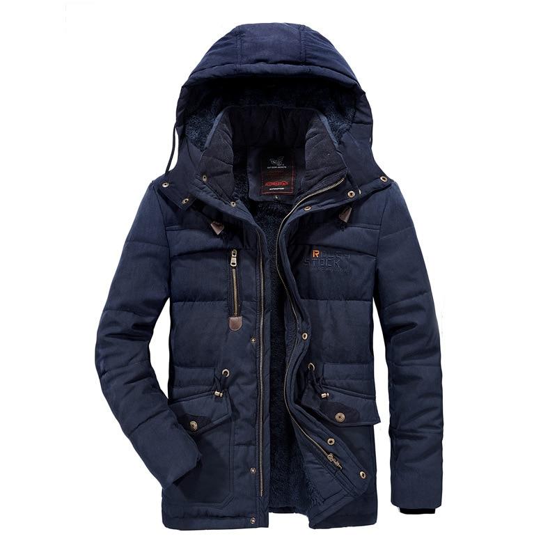 Winter Parkas Casual Cotton Padded Jacket male Multi-Pocket fur hoodies men coat Parka Hombre New Military Thick Warm man Jacket