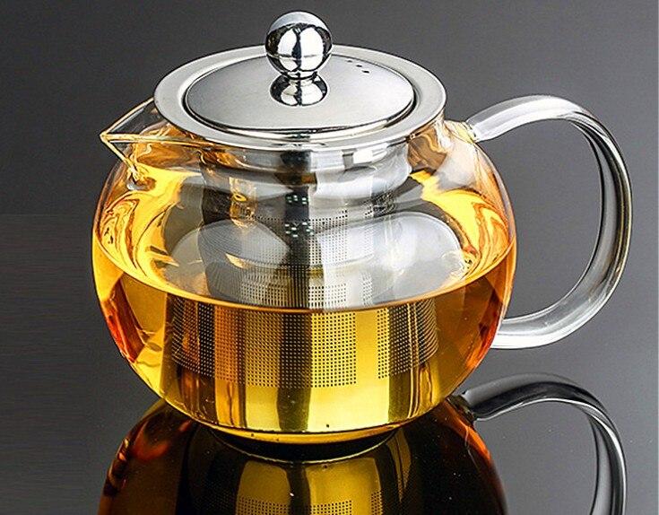 1 pc 350 ml, 500 ml, 650 ml, 800 ml, 950 ml, 1200ml resistente ao calor pote de chá de vidro flor chá puer chaleira bule de café com infuser jn 1032
