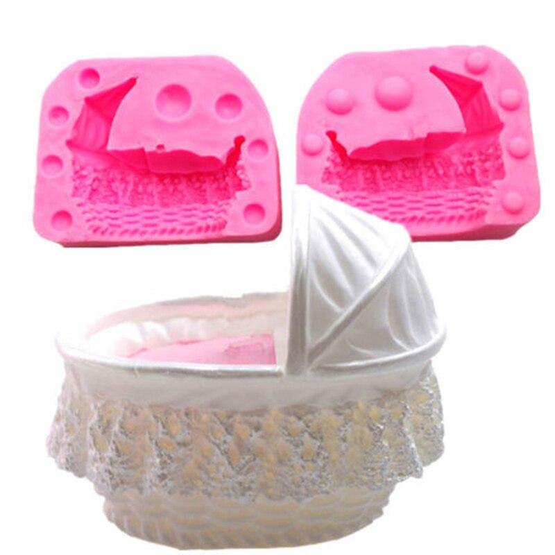 Kuchen Form 3D Baby Kind Krippe Stubenwagen Wiegen Wagen Auto Silikon Form Kuchen Form Fondant Werkzeuge Dekorieren Form Cupcake