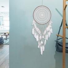 Carillons en forme de fleur en dentelle blanche   Décoration de voiture créative, fait à la main, catcheurs de rêves, pendentif en plume dindiana