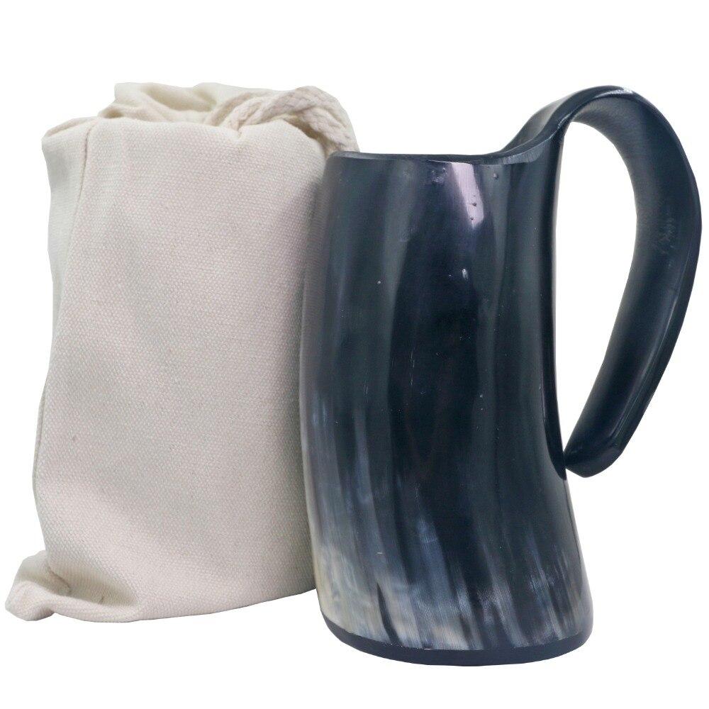 Genuinas artesanías auténticas, jarra de cuerno de cerveza, taza vikinga para beber, copa de cuerno, copa de vino Natural de cuerno de buey hecha a mano de cuerno