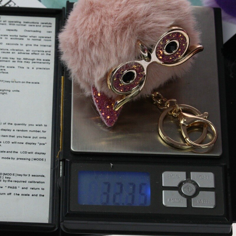 Cute Fashion Women Bag Pendant Handicraft Gold Dust Owl Fur Cony New Hair Ball Pom Pom Charm Handle Ornament Strap Accessories