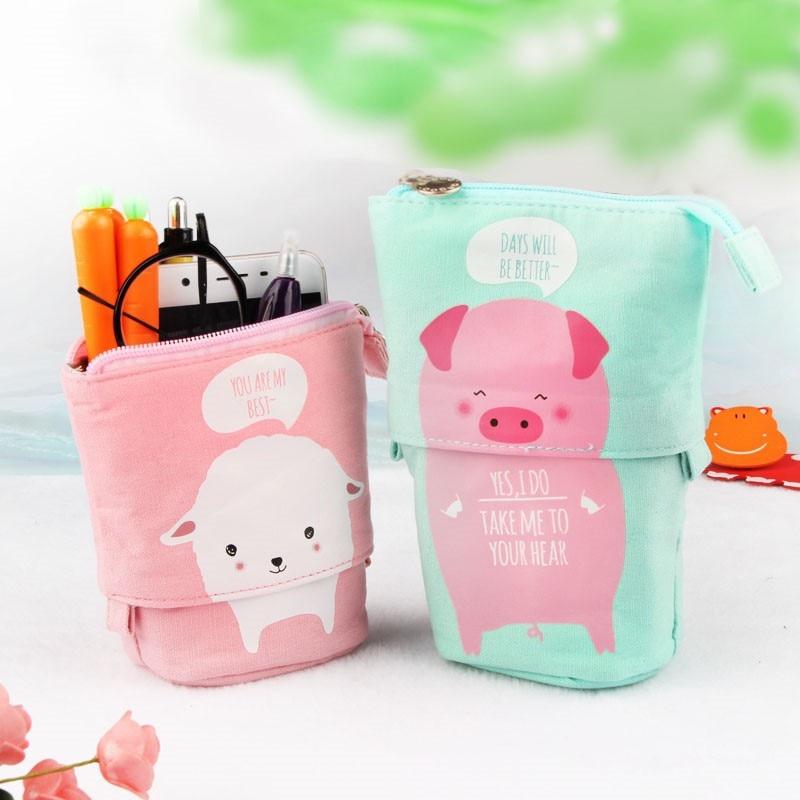 Cute Retractable Pencil Case Storage Organizer Pencilcase Pen Holder School Office Supply Stationery Woman Cosmetic Makeup Bag