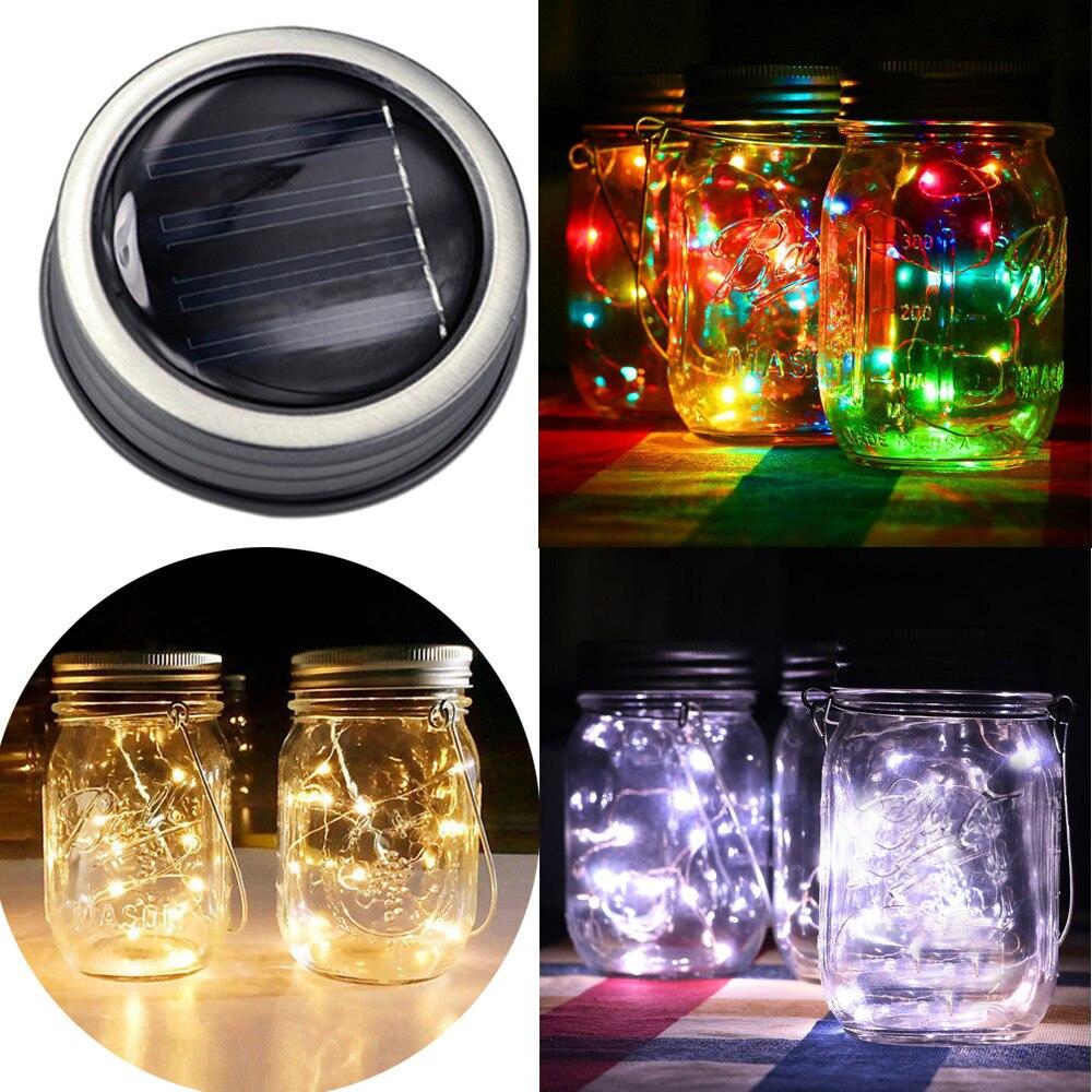 Guirnalda de luces LED Solar de 1/2M para tapa de tarro de masón, decoración de jardín con cambio de Color, tarros de masón regulares, decoración de jardín #