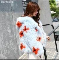 hot selling natural fur winter overcoat women hand knitted fox fur coat hooded genuine fur jacket