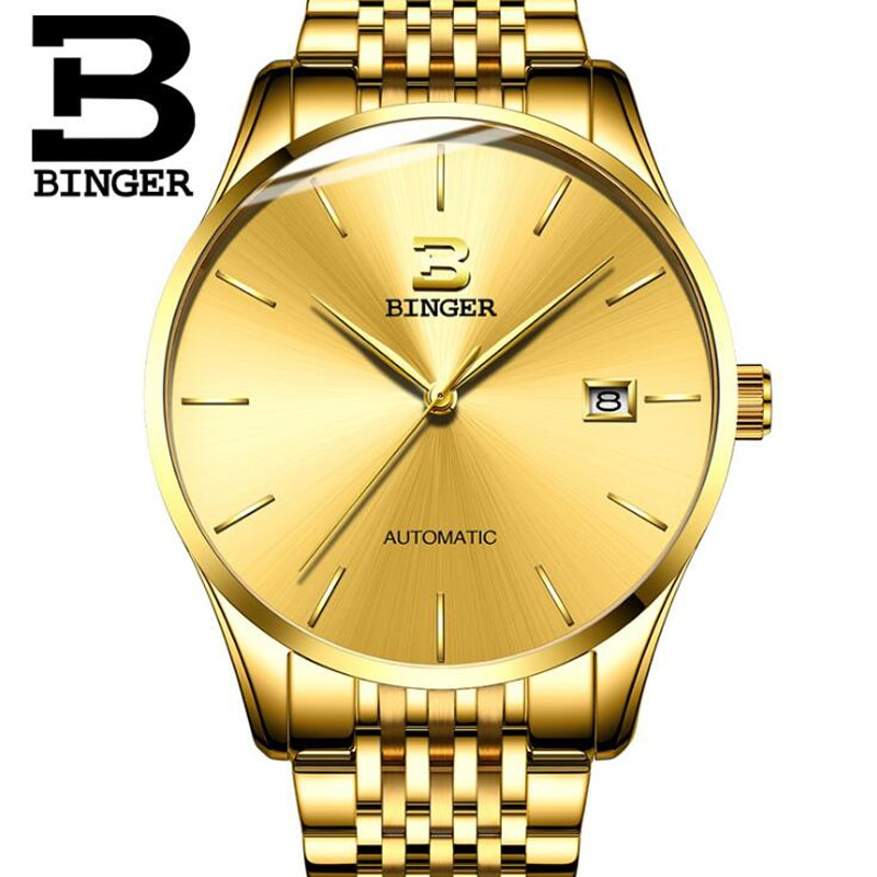 Reloj Mecánico de marca suiza BINGER de zafiro de lujo resistente al agua, reloj dorado para hombre, reloj Masculino 2019