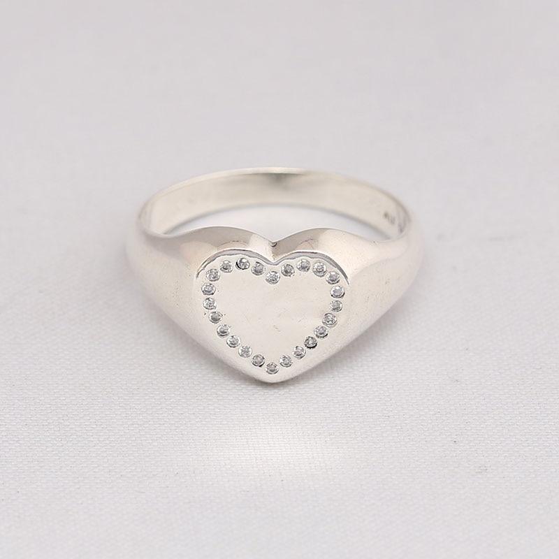 Echtes 925 Sterling Silber Herz Signet CZ Ring Kompatibel Mit Europäischen Schmuck