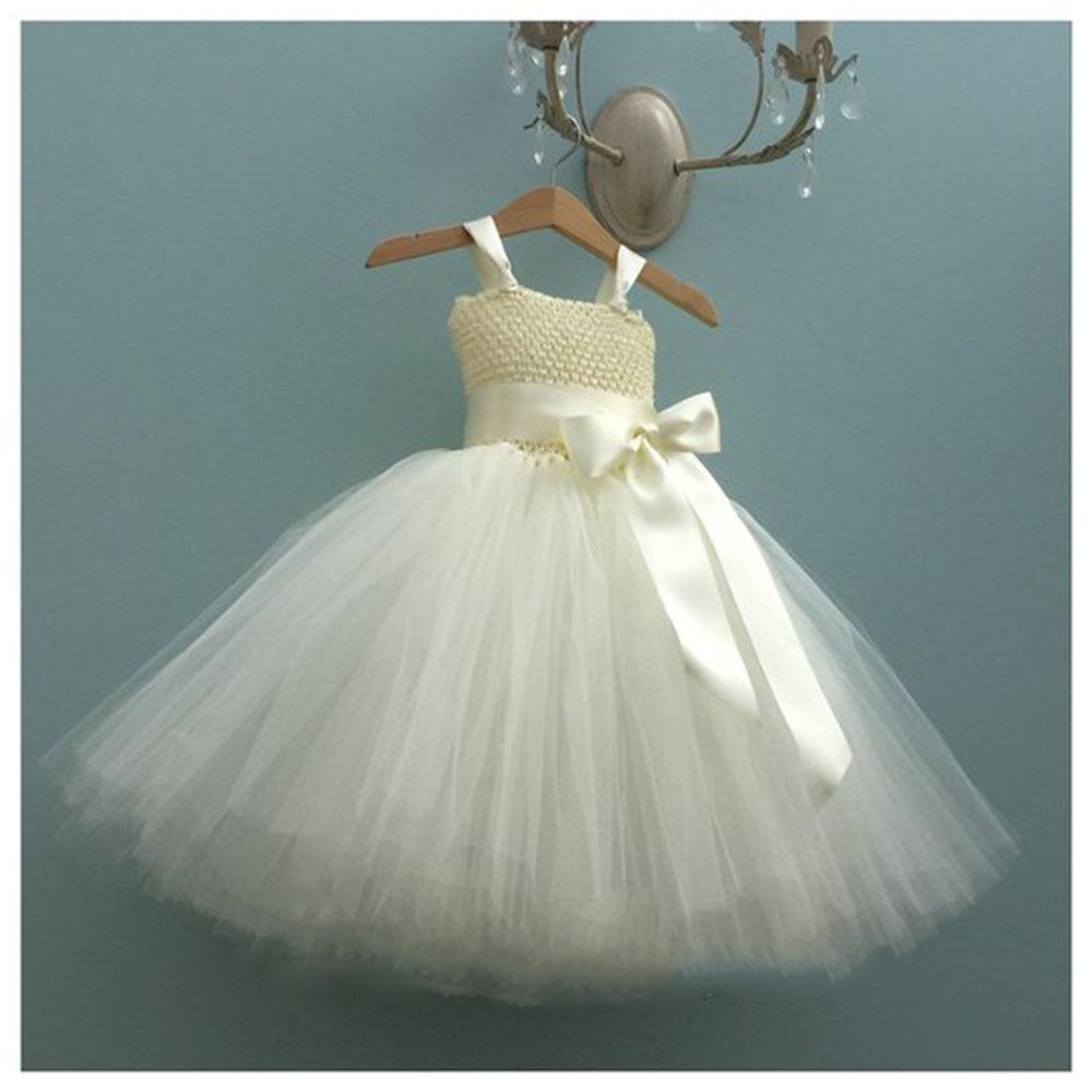 Vestido de niña de flores de marfil con lazo para niñas bola grande mullido vestido juvenil dama de honor pastel de cumpleaños Smash ocasión especial vestidos