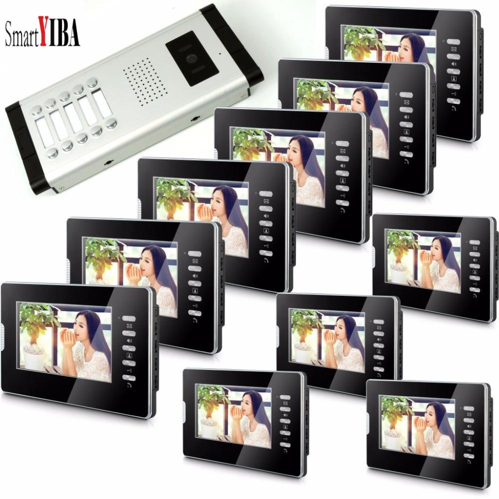 SmartYIBA-Intercoms de téléphone vidéo pour appartement 2 à 12 appartements   Moniteurs, panneau couleur, sonnette vidéo intelligente IR réglable, Volume danneau