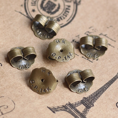 500 Uds. Tapones de cobre de bronce antiguo de 9mm, orejeras, pendientes, camafeo, pendientes, accesorios de fijación de base de pendientes