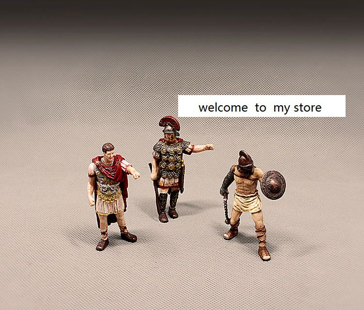 Figura do pvc boneca modelo de brinquedo antigo europeu bonecas antigo gladiador romano cesarr ótimo modelo decoração 3 pçs/set