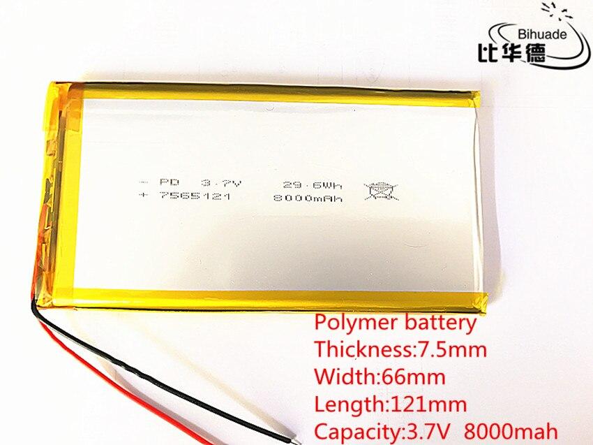 2 piezas 3,7 V, 8000 mAH, 7566121 PLIB polímero ion de litio/batería de iones de litio para GPS, mp3... mp4... mp5 dvd bluetooth modelo móvil bluetooth