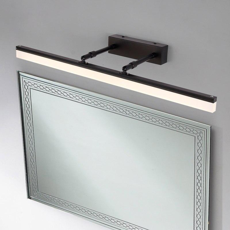 40 CM/50 CM/60 CM/70 CM/90 CM luz de pared de baño AC 110 V-220 V negro plata ajustable luz LED para espejo de baño para cuarto de Ducha