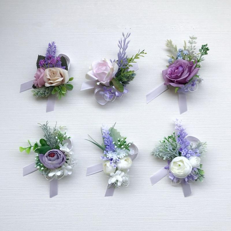 12 unids/pack púrpura serie flor de la boda novia ramillete Flor de dama de honor de la muñeca mejor hombre hermana padres celebración flor